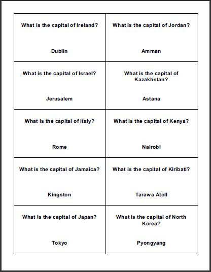 trivia card template free printable boards for classroom test prep