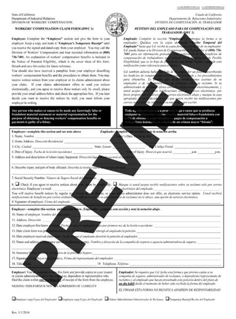 dwc homepage california department of industrial relations workers compensation claim form dwc 1 spanish