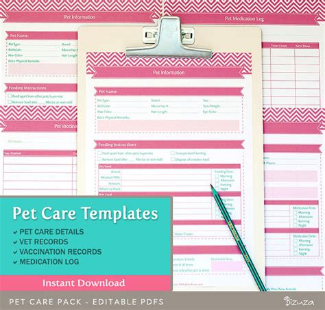 pet health record template pet care records templates 4 editable pdf files for a4 by