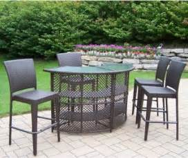 Outdoor Patio Bar Furniture Oakland Living All Weather Wicker Half Patio Bar Set Contemporary Patio Furniture And