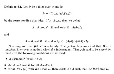Well Outlined Meaning by Set Theory Help With Definition Partition Mod Ultrafilter Mathematics Stack Exchange