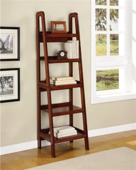 New Ladder Style Wooden Bookcase Shelving Wood Display Wooden Ladder Bookcase