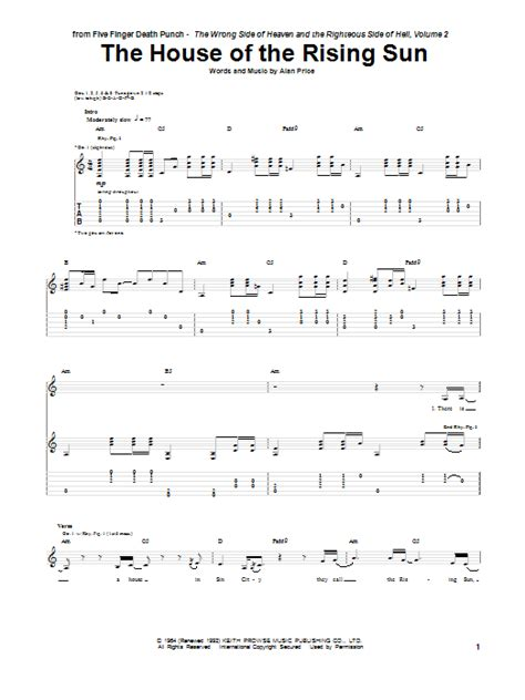 who wrote the song house of the rising sun the house of the rising sun by five finger death punch guitar tab guitar instructor