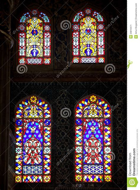 blue stained glass l blue mosque stained glass windows stock image image
