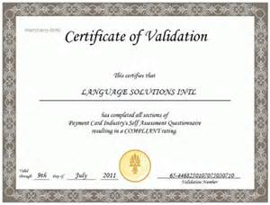Sample Form pci validation certificate