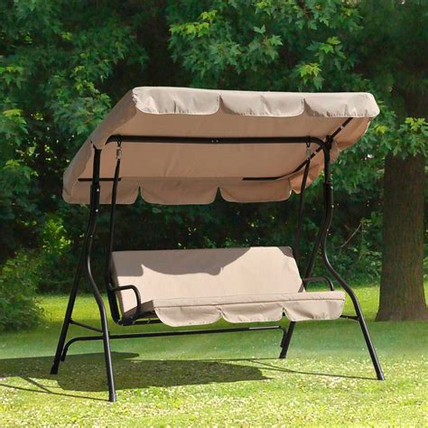 3 person outdoor swing with canopy sunjoy l dnc373pst 3 person duet steel polyester patio