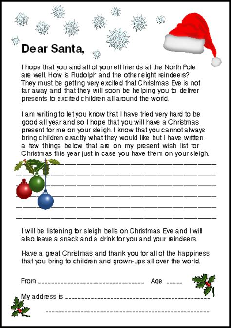letter to santa template for 1st grade free letter to santa