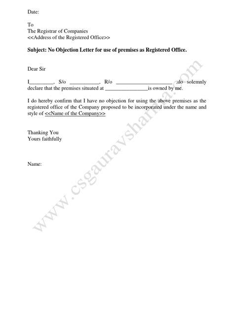 Agreement Letter To Use Premises no objection letter for use of premises as registered office