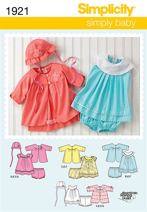 baby clothes pattern sewing simplicity 1921 babies dress separates