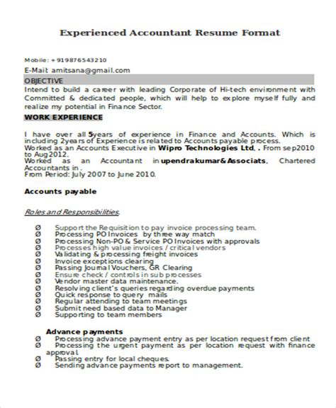 resume format for experienced accountant 33 accountant resumes in doc free premium templates