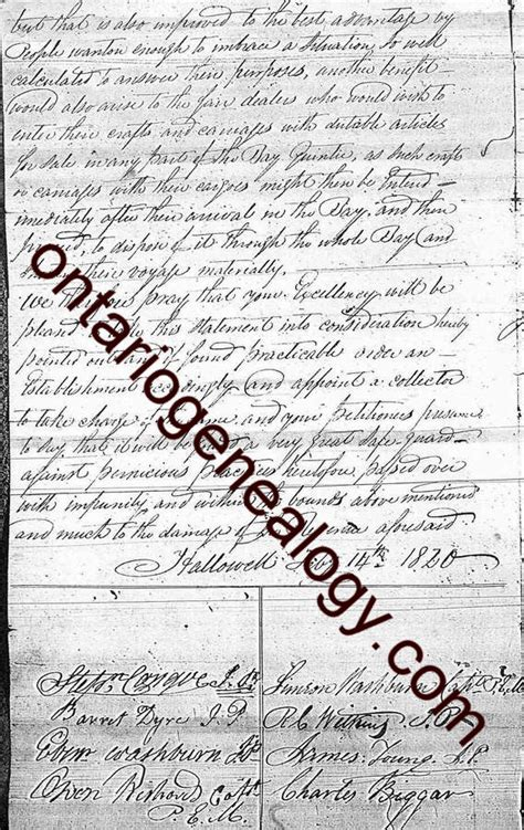 Ontario Canada Genealogy Marriage Records Hallowell Township Pioneer Settler Petition Part 3