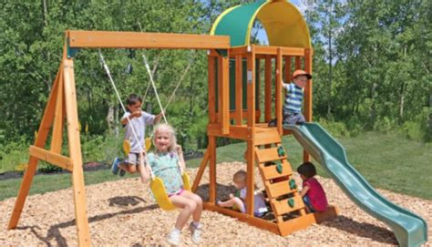 wooden swing sets dallas cedar summit wood swing set only 249 shipped reg 400