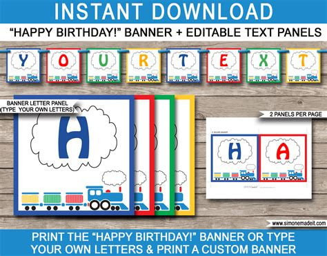 printable text banner train party banner template happy birthday banner
