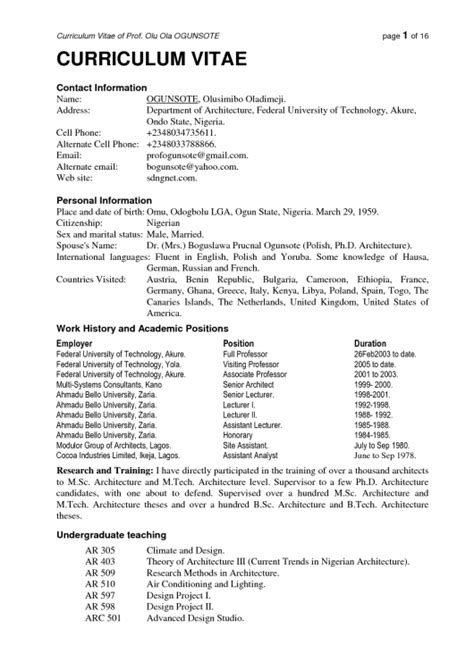 Title Examiner Cover Letter by Cv Format In Nigeria Resume Template Exle