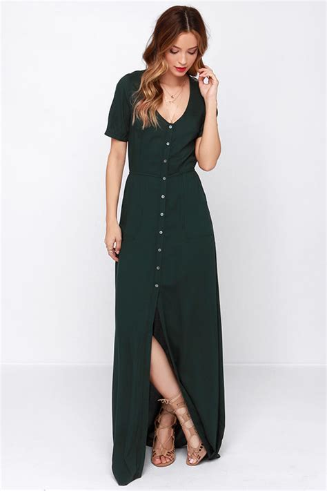 obey forest green dress maxi dress button up maxi 75 00
