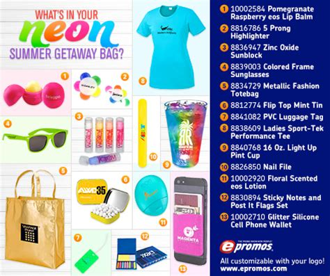 Best Branded Giveaways - 13 best neon promotional items for summer infographic epromos