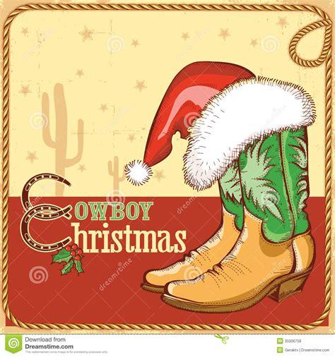 imagenes de navidad vaqueras cowboy christmas card with american boots and sant stock