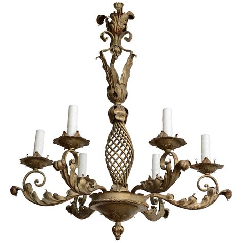 Wrought Iron Candle Chandeliers Wrought Iron Chandelier Six Candle Arms With Washed Finish Circa 1900 At 1stdibs
