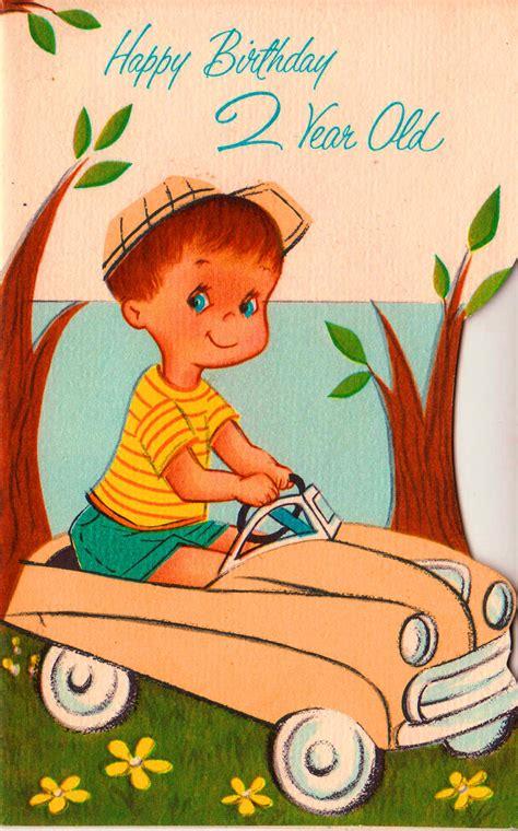 Birthday Card 2 Year Boy Vintage 1963 Happy Birthday 2 Year Old Greetings Card B6a