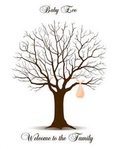 Baby shower fingerprint tree printable pdf file digital signature
