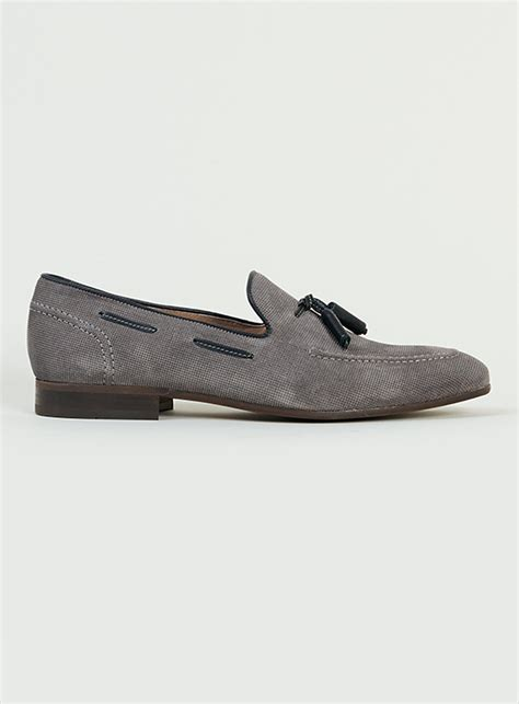 grey suede loafers hudson st grey suede loafers in gray for