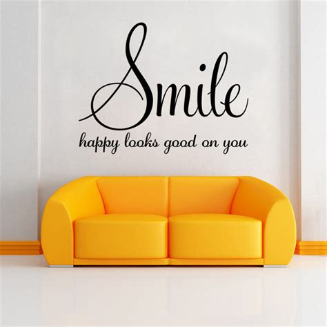 inspirational quotes for home decor smile happy looks good on you inspirational quotes diy art
