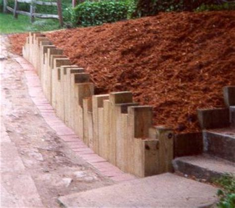 Using Landscape Timbers For Retaining Wall Retaining Walls Timber Vertical Timbers