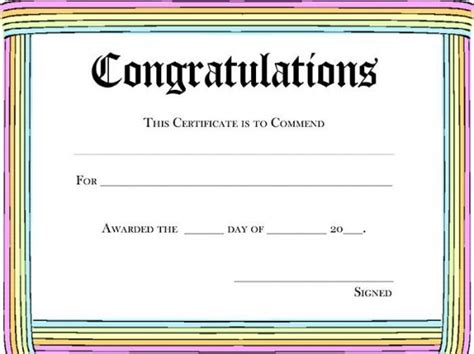rainbow congratulations awardpurple certificate template