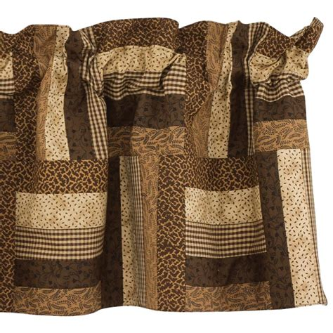 Patchwork Valance - shades of brown lined patchwork valance ebay