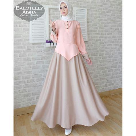 Gamis Baloteli Polos Aisha Maxi   Baju Muslim Modern   Butik Jingga
