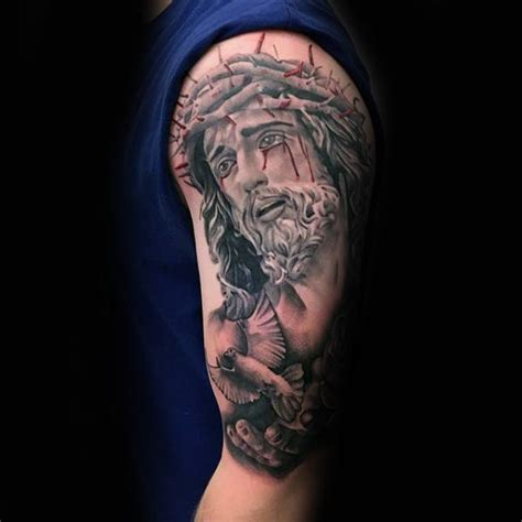 jesus tattoo using arm 60 jesus arm tattoo designs for men religious ink ideas
