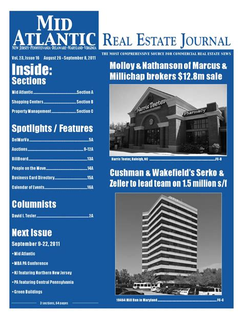 Mba Property Management Pa by 8 26 2011 Mid Atlantic Real Estate Journal By Mid Atlantic