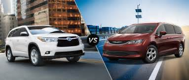 Toyota Highlander Vs 2016 Toyota Highlander Vs 2017 Chrysler Pacifica