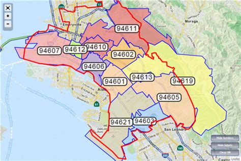 oakland zip code map zip code map