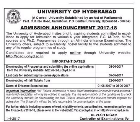 Jntu Mba Syllabus 2017 18 Pdf by Of Hyderabad Admission Announcement 2017 18