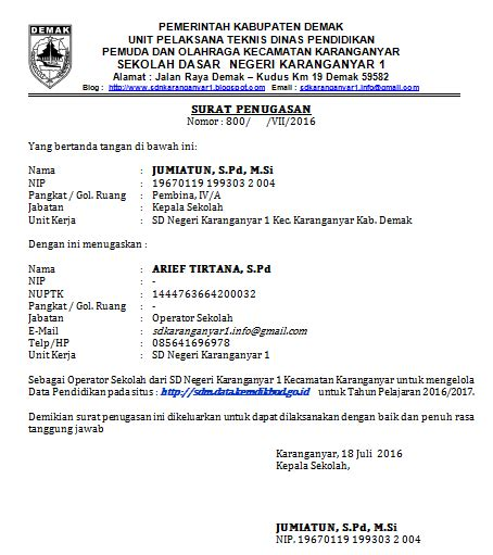 Contoh Surat Penugasan Kerja by Contoh Surat Tugas Operator Sekolah Sidapodik
