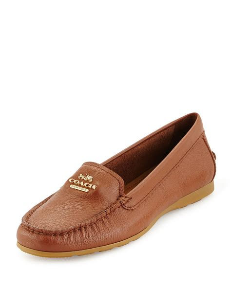 coach loafers lyst coach opal leather loafer in brown