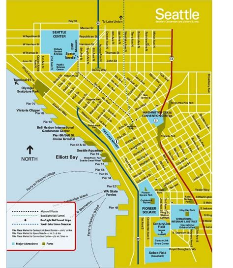 seattle visitors map reliable index image seattle downtown tourist map