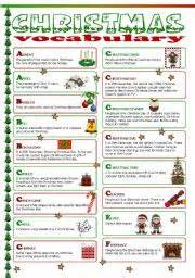 esl worksheets for beginners christmas vocabulary