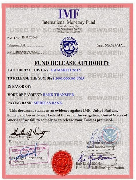 Carry On Fee fraud fyi 419 scam email with fake imf certificate from