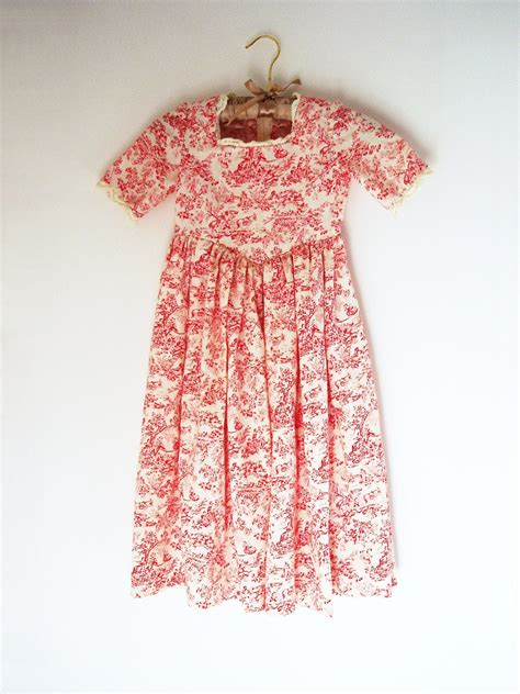 vintage handmade toile girl dress   girl outfit