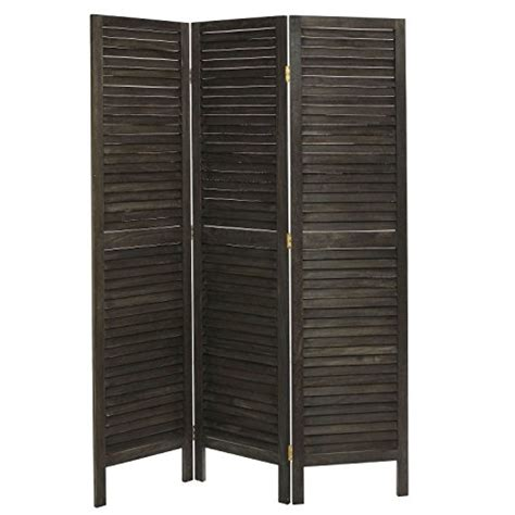 Freestanding Room Divider Rustic Brown Wood Louvered Panels Freestanding 3 Partition Foldin