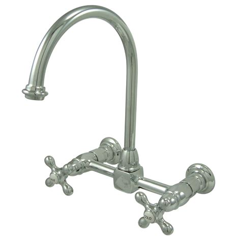 8 kitchen faucet kingston brass ks1291ax 8 quot wall mount goose neck kitchen
