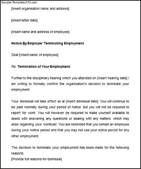 Termination Letter Format With Notice Period Sle Notice Period Disciplinary Termination Letter