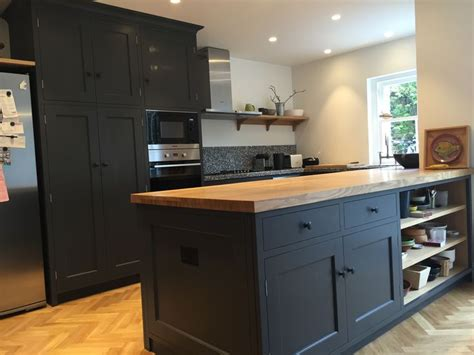 Solid Wood Kitchen Cabinets Picture Of Dark Grey Kitchen With Solid Wood Worktops