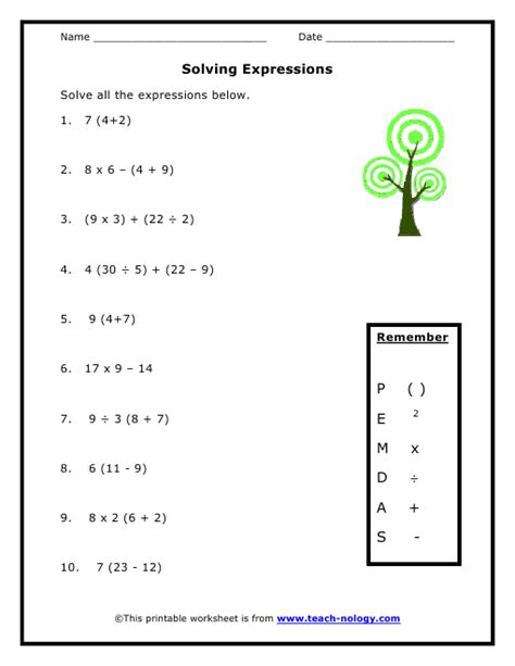 5th Grade Math Order Of Operations Worksheets by Solving Expressions