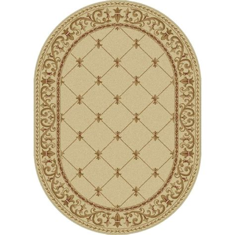 area rugs oval tayse rugs sensation ivory 5 ft 3 in x 7 ft 3 in oval traditional area rug 4882 ivory 5x8