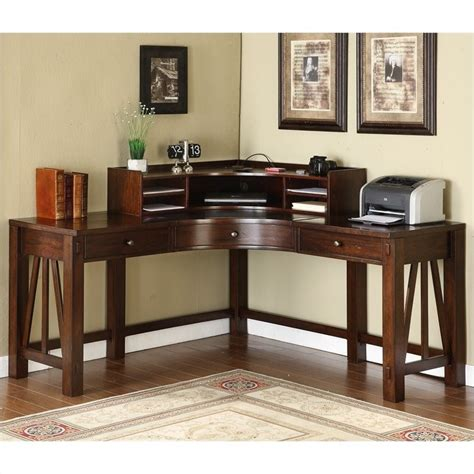 Home Office Corner Desks Riverside Furniture Castlewood Corner Desk With Hutch In Warm Tobacco 33524 33532 Kit