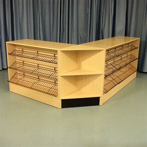 l shape checkout counter with shelf