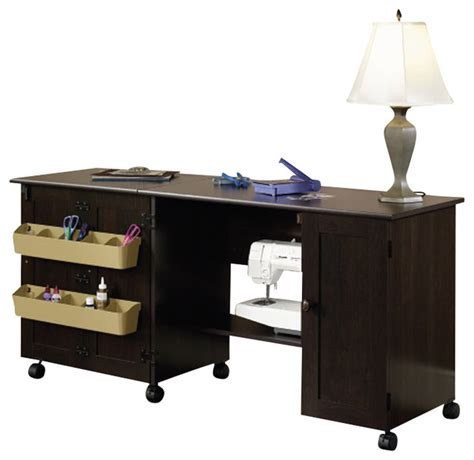 sauder craft  mobile sewing cart  cinnamon cherry